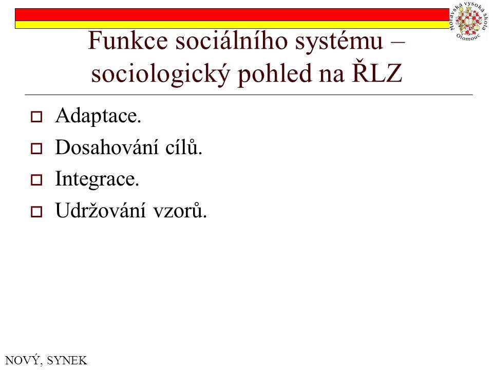 Funkce sociálního systému – sociologický pohled na ŘLZ  Adaptace.