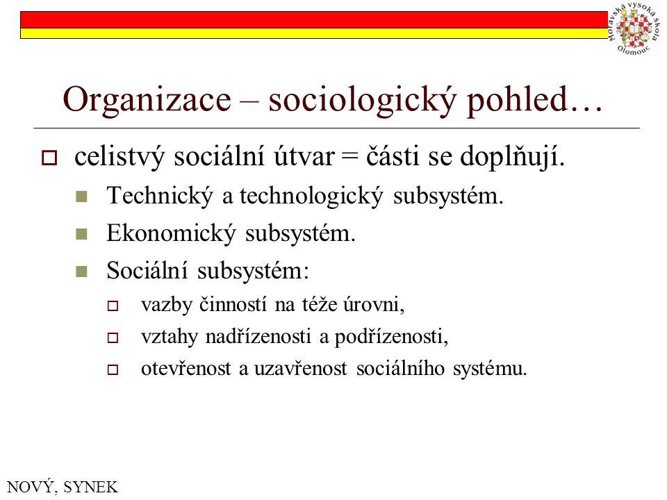 Organizace – sociologický pohled…  celistvý sociální útvar = části se doplňují.