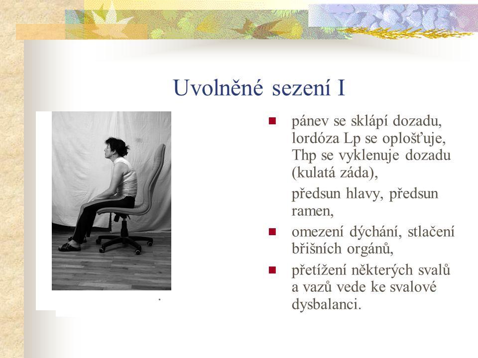 Uvolněné sezení I pánev se sklápí dozadu, lordóza Lp se oplošťuje, Thp se vyklenuje dozadu (kulatá záda), předsun hlavy, předsun ramen, omezení dýchán