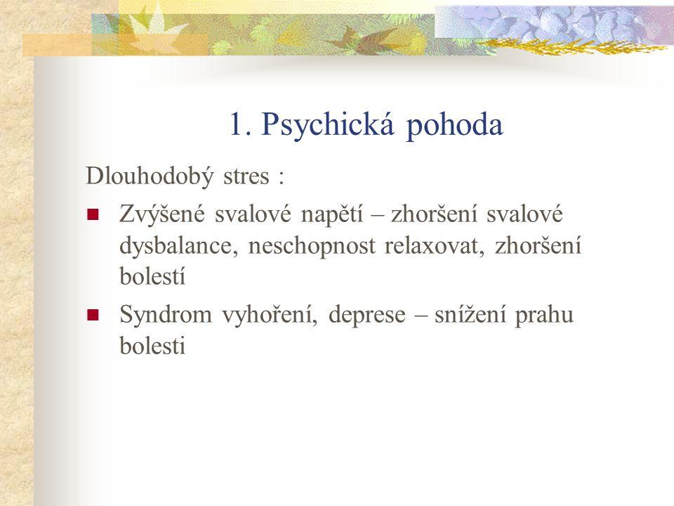 1. Psychická pohoda Dlouhodobý stres : Zvýšené svalové napětí – zhoršení svalové dysbalance, neschopnost relaxovat, zhoršení bolestí Syndrom vyhoření,