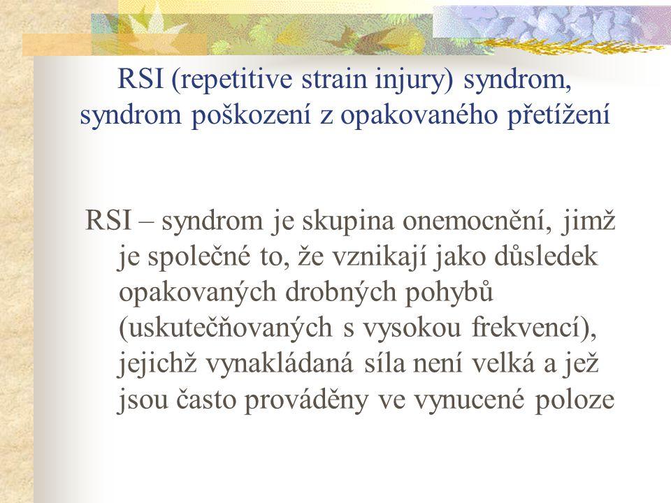 RSI (repetitive strain injury) syndrom, syndrom poškození z opakovaného přetížení RSI – syndrom je skupina onemocnění, jimž je společné to, že vznikaj