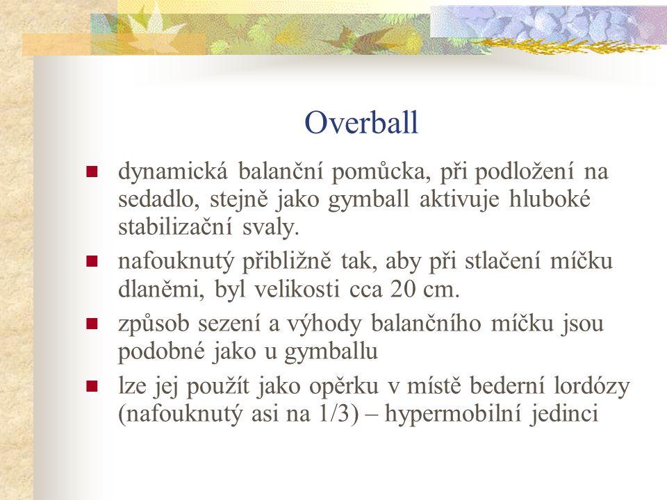 Overball dynamická balanční pomůcka, při podložení na sedadlo, stejně jako gymball aktivuje hluboké stabilizační svaly. nafouknutý přibližně tak, aby