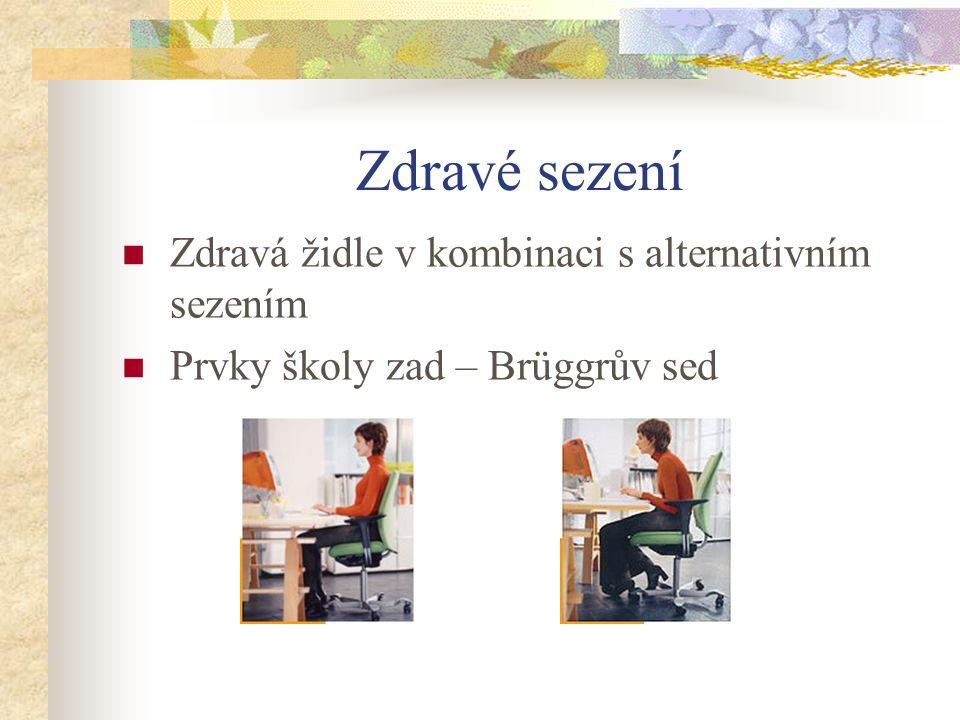 Zdravé sezení Zdravá židle v kombinaci s alternativním sezením Prvky školy zad – Brüggrův sed