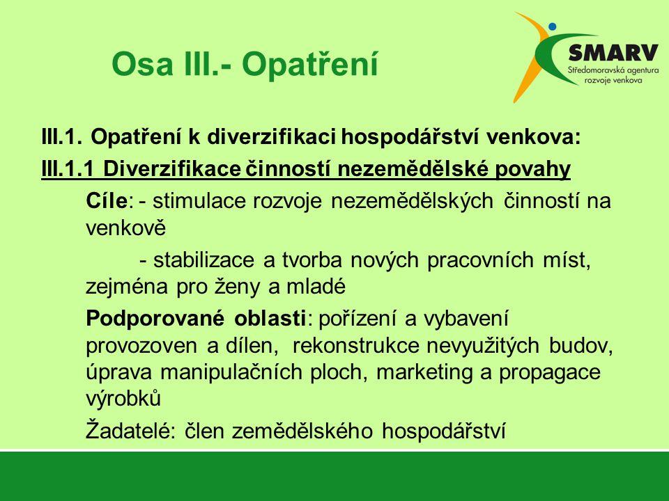 Osa III.- Opatření III.1.