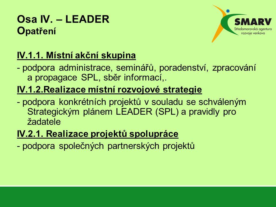 Osa IV. – LEADER O patření IV.1.1.