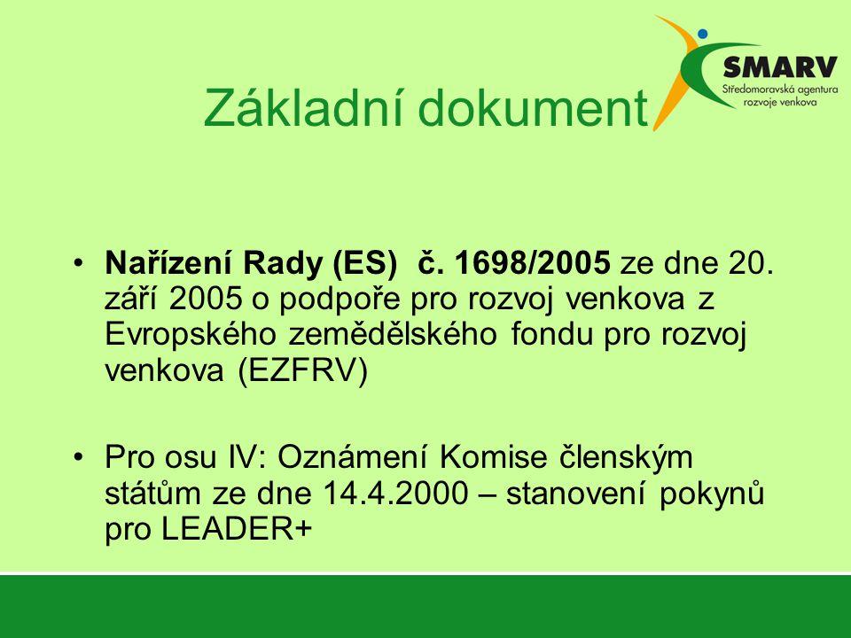 Základní dokument Nařízení Rady (ES) č. 1698/2005 ze dne 20.