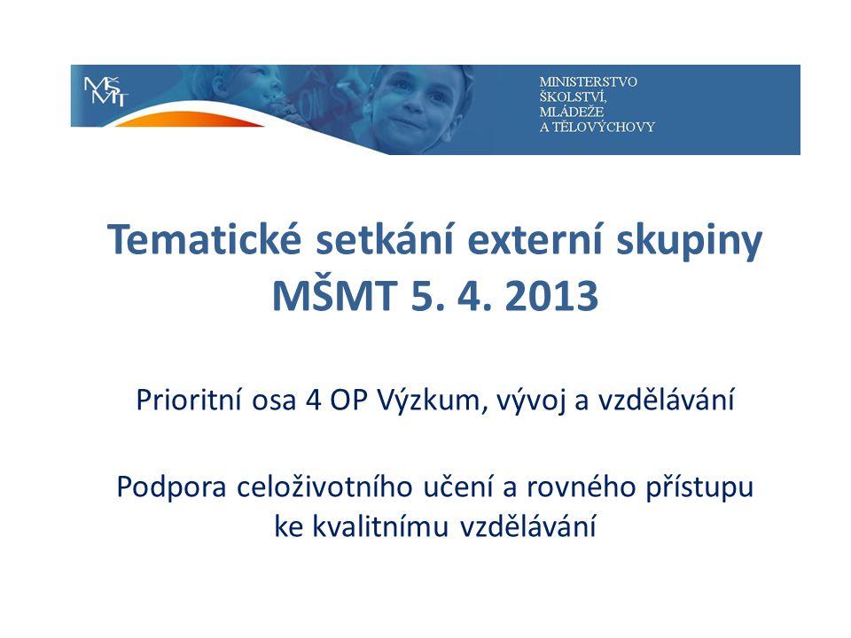 Tematické setkání externí skupiny MŠMT 5. 4.