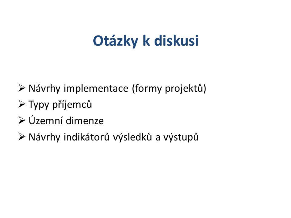 Otázky k diskusi  Návrhy implementace (formy projektů)  Typy příjemců  Územní dimenze  Návrhy indikátorů výsledků a výstupů