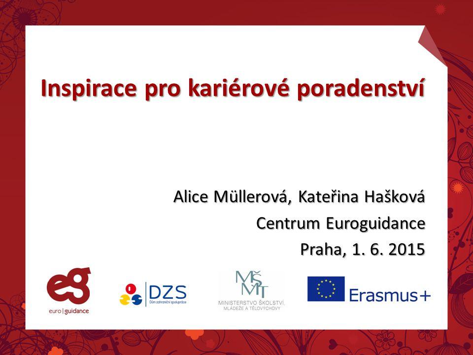 Inspirace pro kariérové poradenství Alice Müllerová, Kateřina Hašková Centrum Euroguidance Praha, 1.