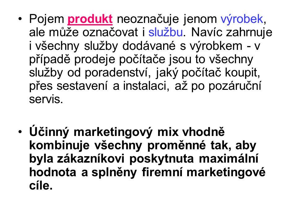 Pojem produkt neoznačuje jenom výrobek, ale může označovat i službu. Navíc zahrnuje i všechny služby dodávané s výrobkem - v případě prodeje počítače