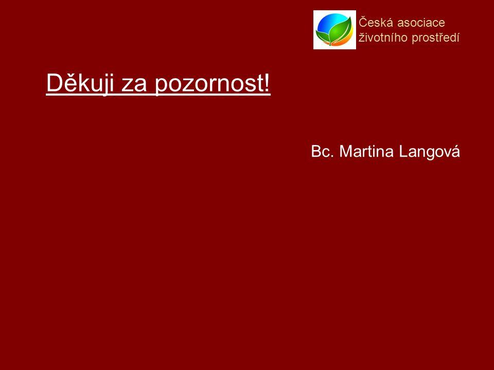 Česká asociace životního prostředí Děkuji za pozornost! Bc. Martina Langová