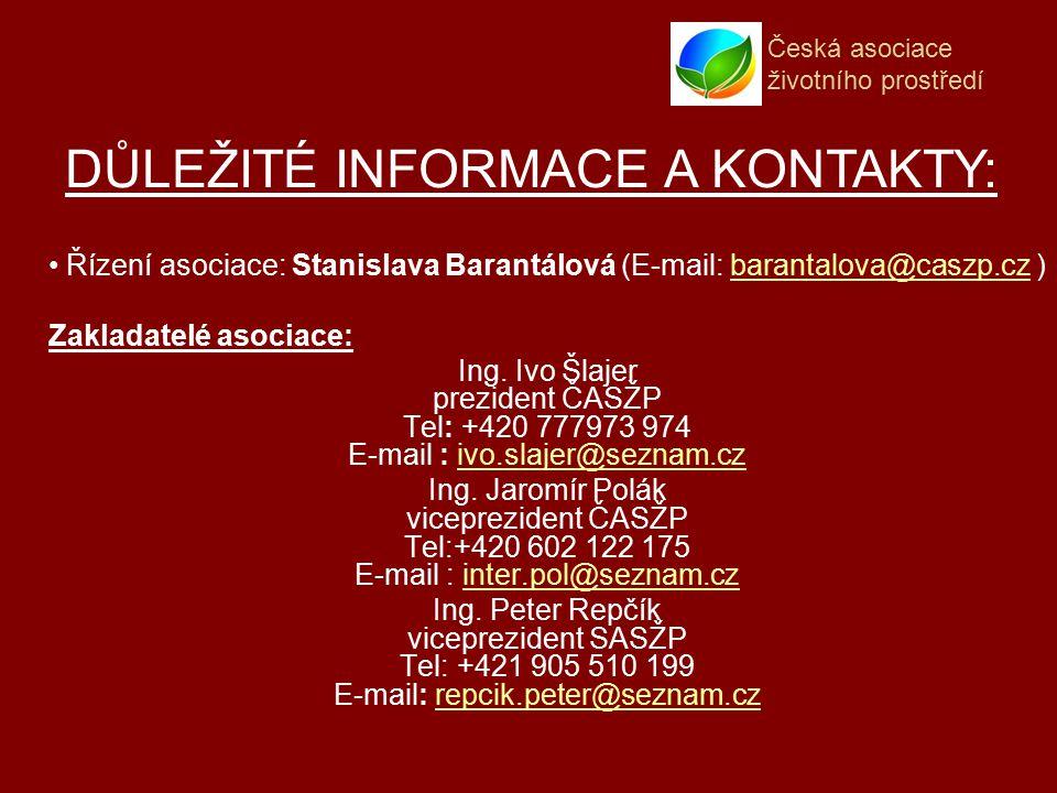 Česká asociace životního prostředí Řízení asociace: Stanislava Barantálová (E-mail: barantalova@caszp.cz )barantalova@caszp.cz Zakladatelé asociace: Ing.