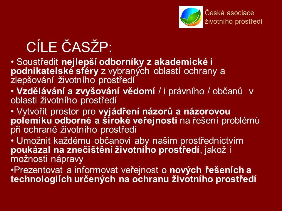 Česká asociace životního prostředí Soustředit nejlepší odborníky z akademické i podnikatelské sféry z vybraných oblastí ochrany a zlepšování životního prostředí Vzdělávání a zvyšování vědomí / i právního / občanů v oblasti životního prostředí Vytvořit prostor pro vyjádření názorů a názorovou polemiku odborné a široké veřejnosti na řešení problémů při ochraně životního prostředí Umožnit každému občanovi aby našim prostřednictvím poukázal na znečištění životního prostředí, jakož i možnosti nápravy Prezentovat a informovat veřejnost o nových řešeních a technologiích určených na ochranu životního prostředí CÍLE ČASŽP:
