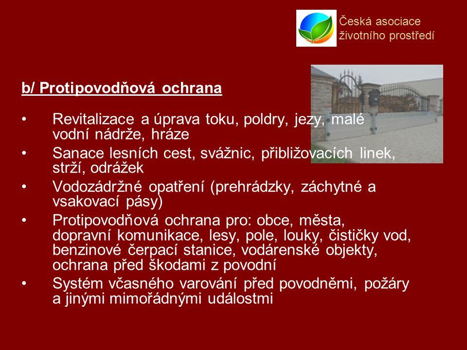 Česká asociace životního prostředí b/ Protipovodňová ochrana Revitalizace a úprava toku, poldry, jezy, malé vodní nádrže, hráze Sanace lesních cest, svážnic, přibližovacích linek, strží, odrážek Vodozádržné opatření (prehrádzky, záchytné a vsakovací pásy) Protipovodňová ochrana pro: obce, města, dopravní komunikace, lesy, pole, louky, čističky vod, benzinové čerpací stanice, vodárenské objekty, ochrana před škodami z povodní Systém včasného varování před povodněmi, požáry a jinými mimořádnými událostmi