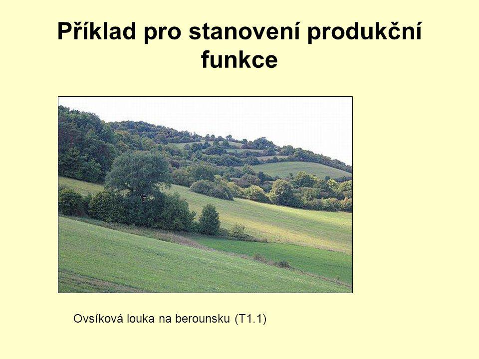 Příklad pro stanovení produkční funkce Ovsíková louka na berounsku (T1.1)