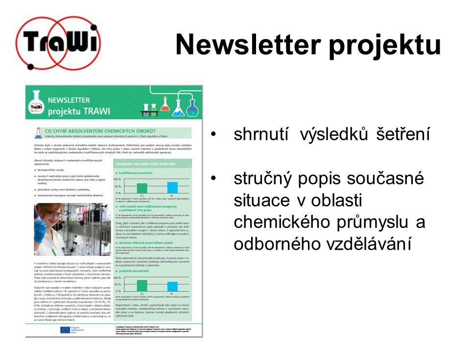 Newsletter projektu shrnutí výsledků šetření stručný popis současné situace v oblasti chemického průmyslu a odborného vzdělávání
