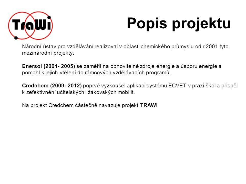 Popis projektu Národní ústav pro vzdělávání realizoval v oblasti chemického průmyslu od r.2001 tyto mezinárodní projekty: Enersol (2001- 2005) se zaměřil na obnovitelné zdroje energie a úsporu energie a pomohl k jejich vtělení do rámcových vzdělávacích programů.