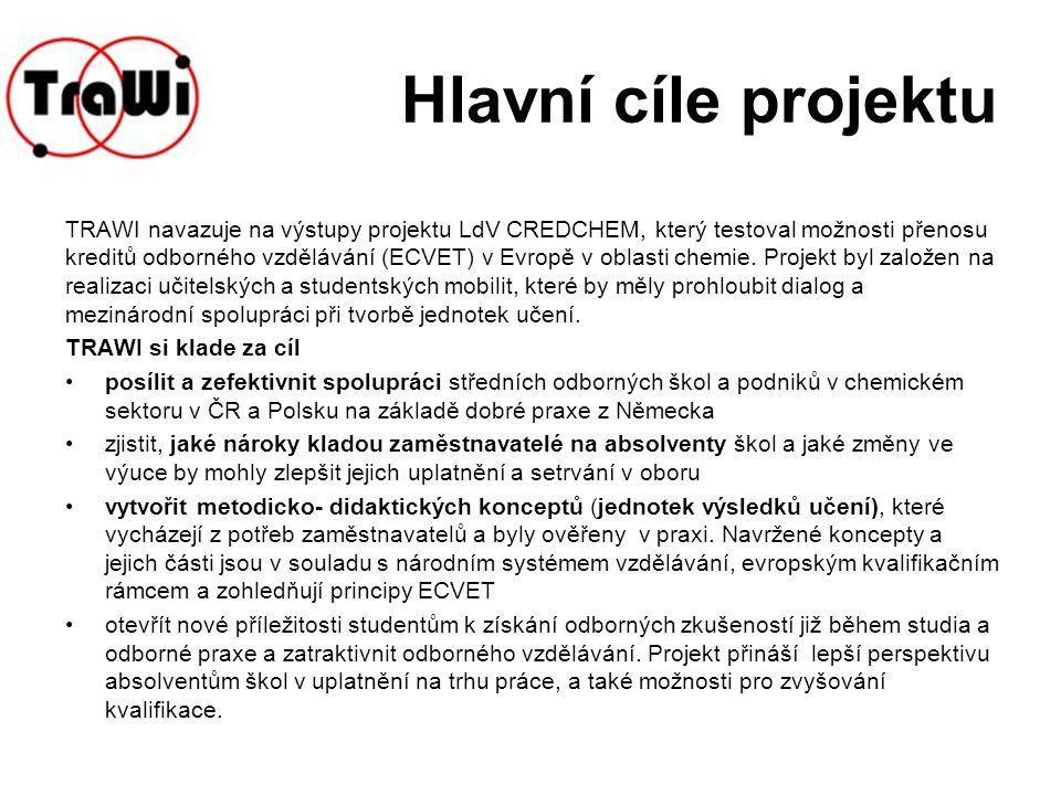 Hlavní cíle projektu Vytvoření platformy TRAWI- mezinárodní sítě zainteresovaných partnerů z řad škol a podniků v ČR, Polsku a Německu, ochotných podílet se na dialogu v oblasti spolupráce v chemickém průmyslu.