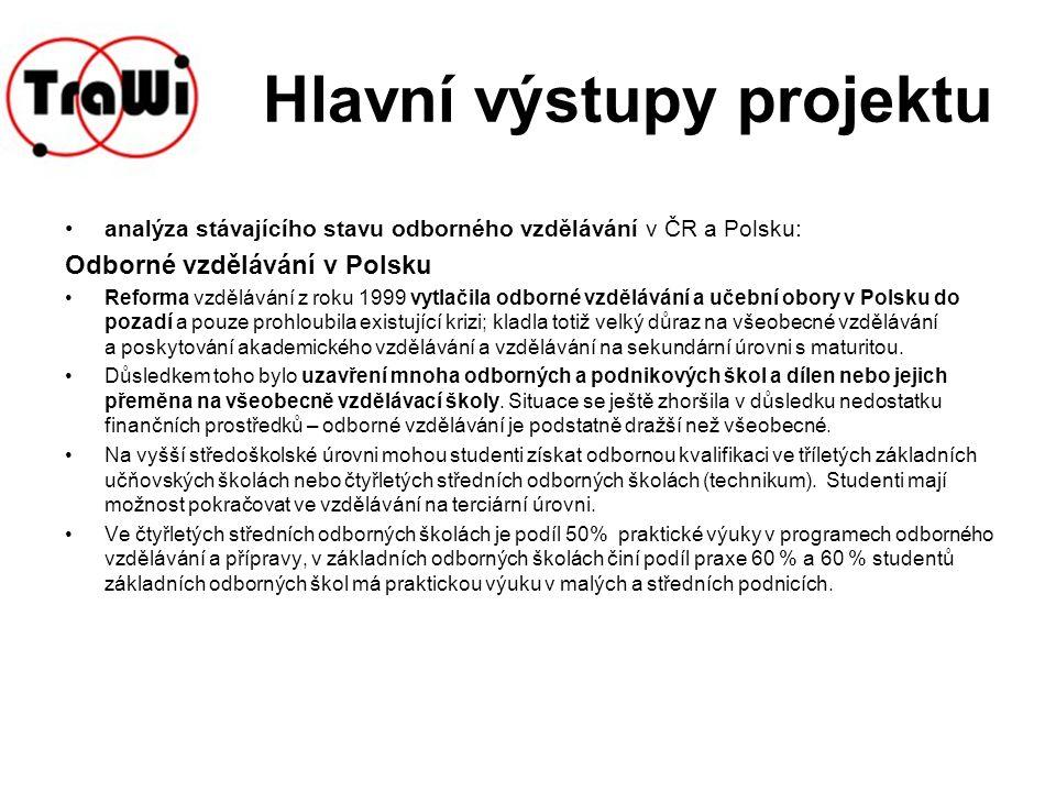 Hlavní výstupy projektu- Odborné vzdělávání v Polsku Chemie patří k nejrychleji se rozvíjejícím oborům v Polsku.
