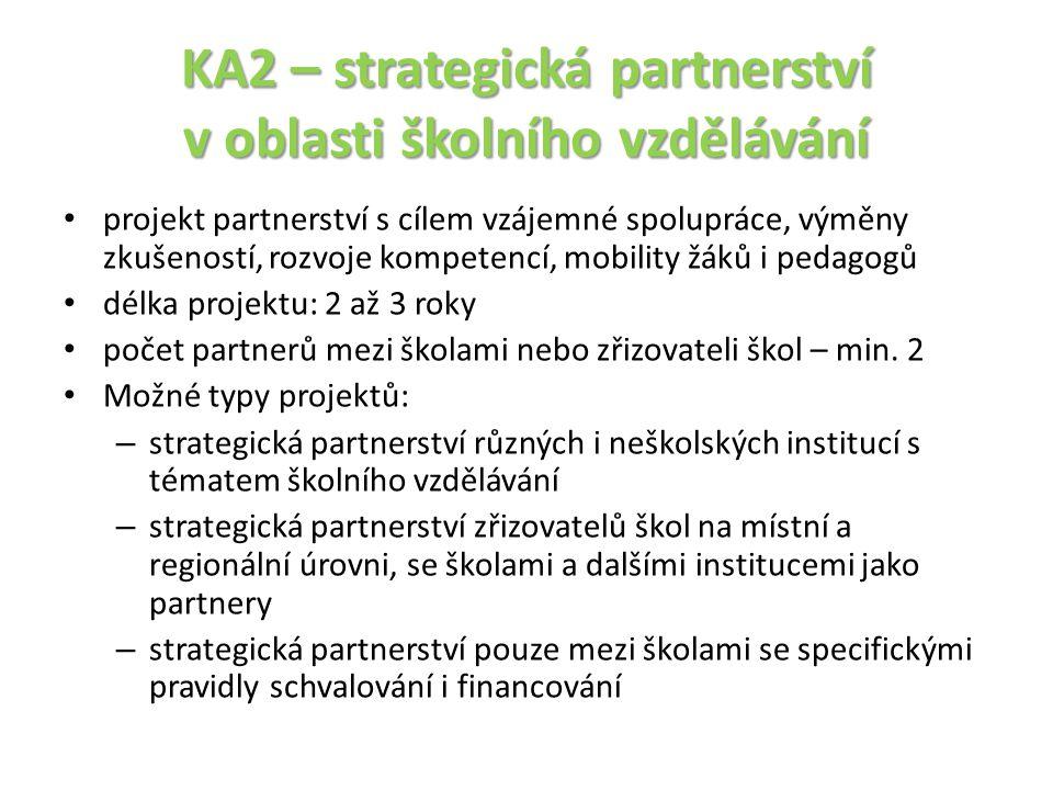 KA2 – strategická partnerství v oblasti školního vzdělávání projekt partnerství s cílem vzájemné spolupráce, výměny zkušeností, rozvoje kompetencí, mo