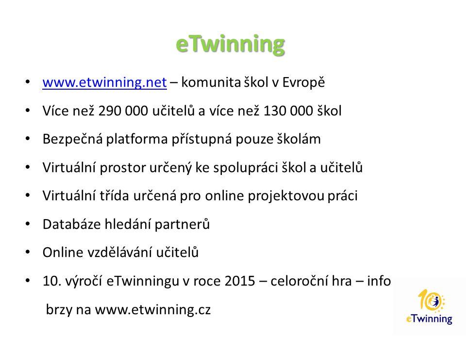 eTwinning www.etwinning.net – komunita škol v Evropě www.etwinning.net Více než 290 000 učitelů a více než 130 000 škol Bezpečná platforma přístupná p