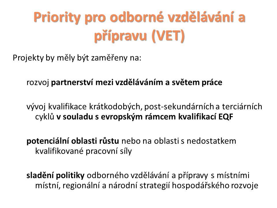 Priority pro odborné vzdělávání a přípravu (VET) Projekty by měly být zaměřeny na: rozvoj partnerství mezi vzděláváním a světem práce vývoj kvalifikace krátkodobých, post-sekundárních a terciárních cyklů v souladu s evropským rámcem kvalifikací EQF potenciální oblasti růstu nebo na oblasti s nedostatkem kvalifikované pracovní síly sladění politiky odborného vzdělávání a přípravy s místními místní, regionální a národní strategií hospodářského rozvoje