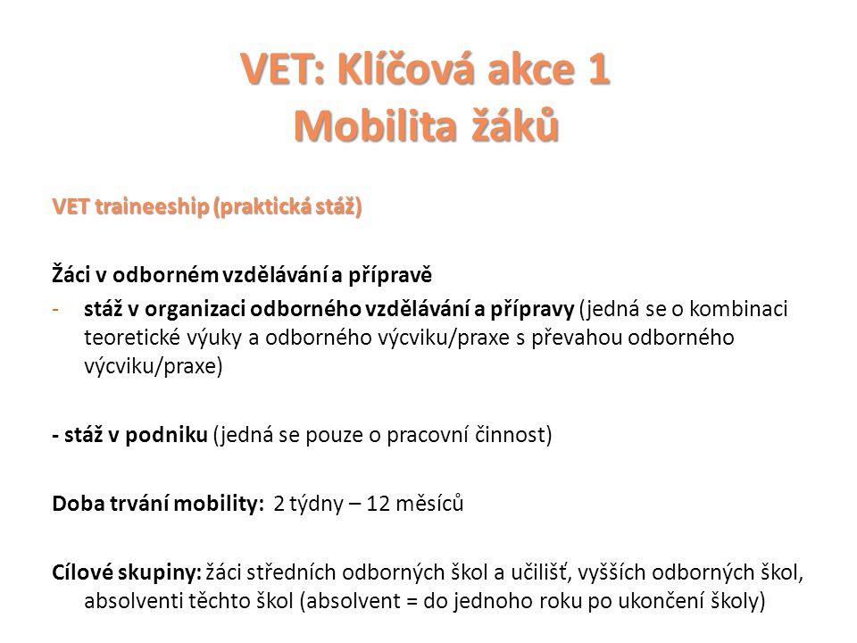VET: Klíčová akce 1 Mobilita žáků VET traineeship (praktická stáž) Žáci v odborném vzdělávání a přípravě -stáž v organizaci odborného vzdělávání a přípravy (jedná se o kombinaci teoretické výuky a odborného výcviku/praxe s převahou odborného výcviku/praxe) - stáž v podniku (jedná se pouze o pracovní činnost) Doba trvání mobility: 2 týdny – 12 měsíců Cílové skupiny: žáci středních odborných škol a učilišť, vyšších odborných škol, absolventi těchto škol (absolvent = do jednoho roku po ukončení školy)