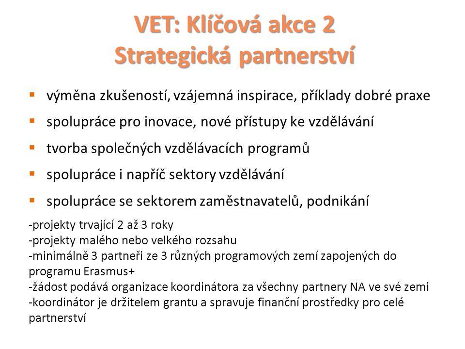 VET: Klíčová akce 2 Strategická partnerství  výměna zkušeností, vzájemná inspirace, příklady dobré praxe  spolupráce pro inovace, nové přístupy ke v