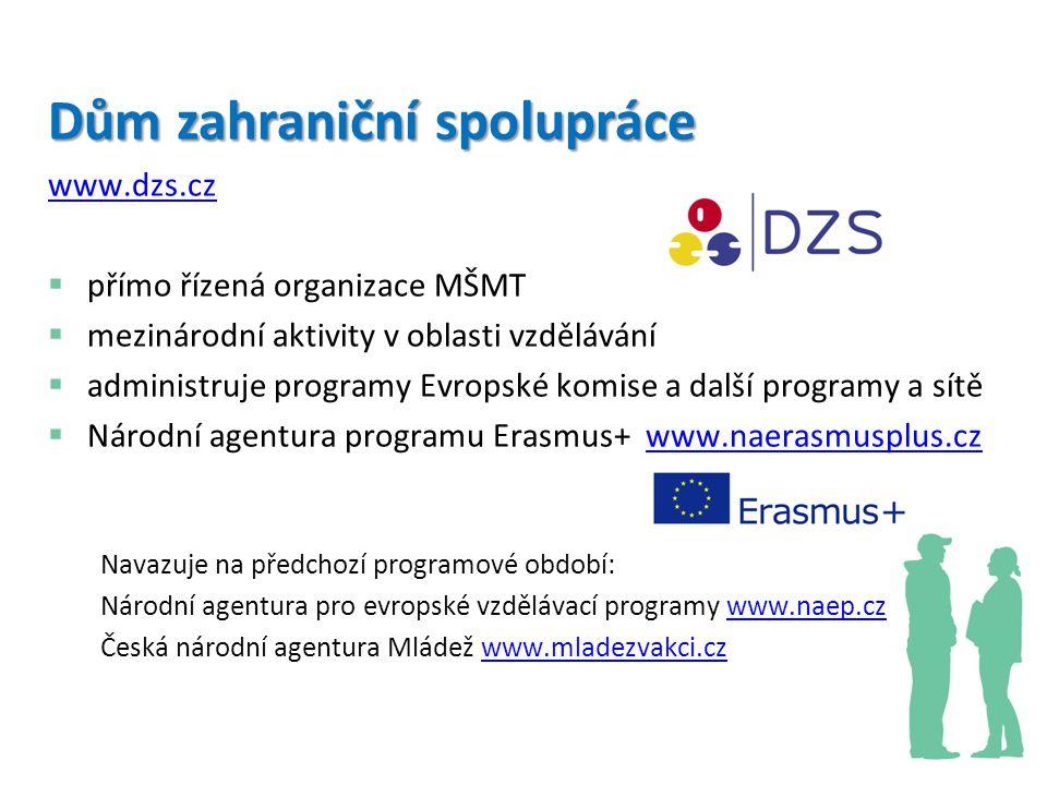 Program Erasmus+ programové období: 2014 –2020 program pro vzdělávání, odbornou přípravu, mládež a sport navazuje na úspěchy programů: Program celoživotního učení, Mládež v akci, Erasmus Mundus, Tempus a další iniciativy Evropské komise program podpoří mezinárodní mobility a spolupráci, inovační procesy a dobrou praxi, politiku a reformy na všech úrovních a formách vzdělávání cílové skupiny programu: pracovníci v oblasti vzdělávání, vedoucí pracovníci, ředitelé, úředníci, učitelé, poradci, studenti, žáci, děti v předškolním vzdělávání, mladí lidé a pracovníci s mládeží v mimoškolním vzdělávání