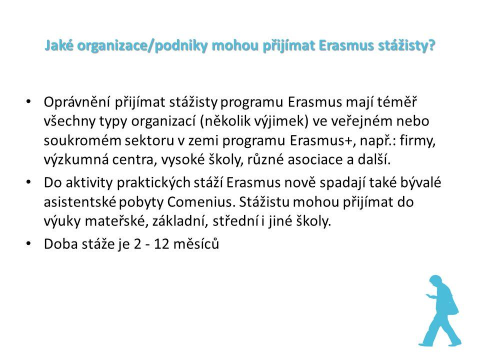 Jaké organizace/podniky mohou přijímat Erasmus stážisty? Oprávnění přijímat stážisty programu Erasmus mají téměř všechny typy organizací (několik výji