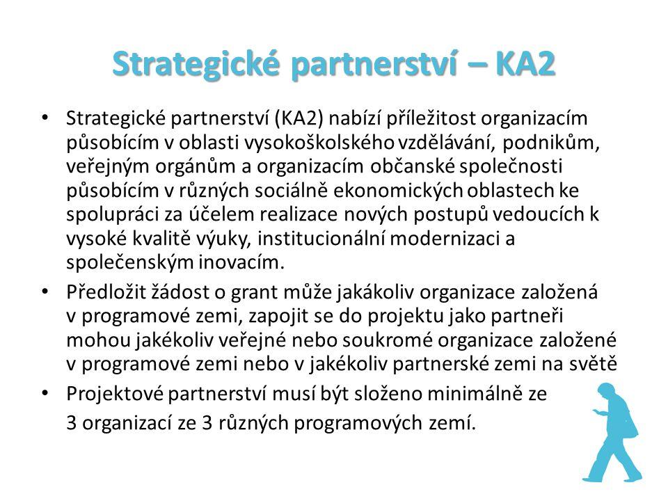 Strategické partnerství – KA2 Strategické partnerství (KA2) nabízí příležitost organizacím působícím v oblasti vysokoškolského vzdělávání, podnikům, veřejným orgánům a organizacím občanské společnosti působícím v různých sociálně ekonomických oblastech ke spolupráci za účelem realizace nových postupů vedoucích k vysoké kvalitě výuky, institucionální modernizaci a společenským inovacím.