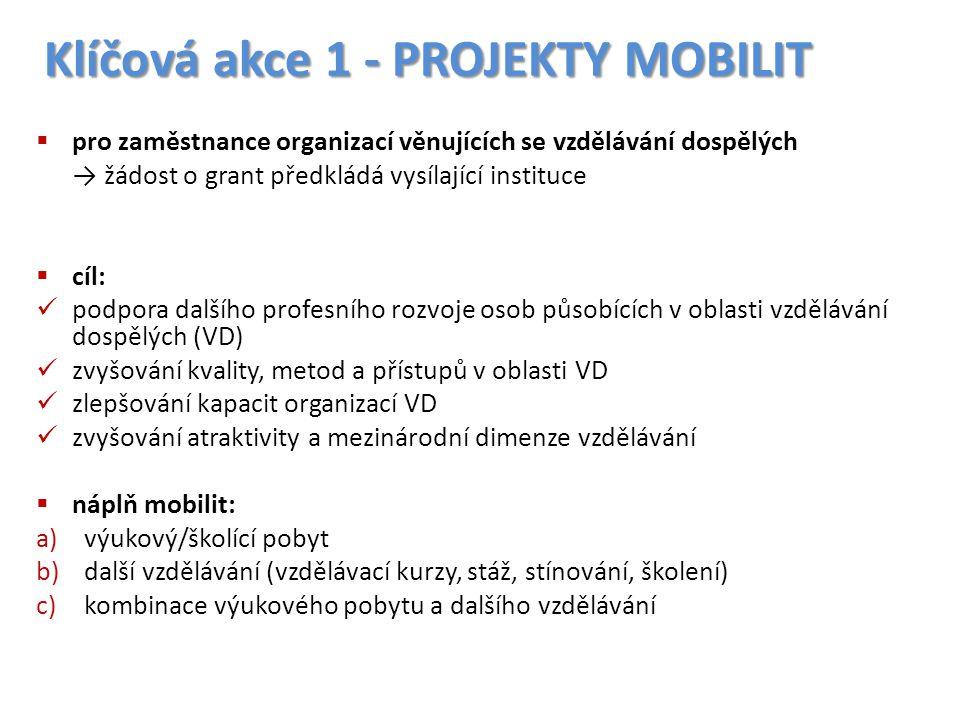 Klíčová akce 1 - PROJEKTY MOBILIT  pro zaměstnance organizací věnujících se vzdělávání dospělých → žádost o grant předkládá vysílající instituce  cí