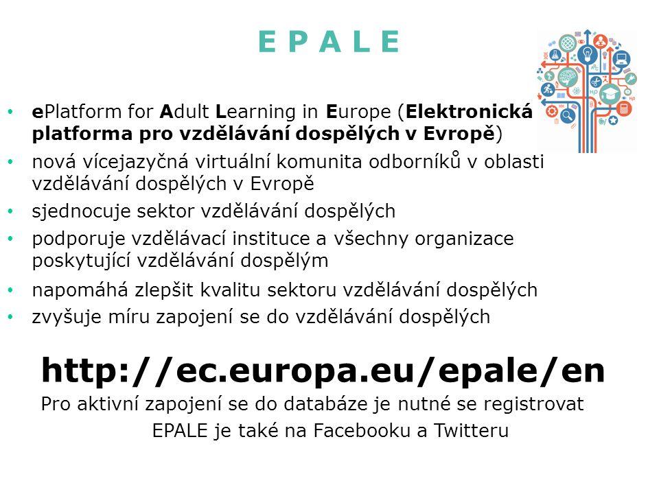 E P A L E ePlatform for Adult Learning in Europe (Elektronická platforma pro vzdělávání dospělých v Evropě) nová vícejazyčná virtuální komunita odborníků v oblasti vzdělávání dospělých v Evropě sjednocuje sektor vzdělávání dospělých podporuje vzdělávací instituce a všechny organizace poskytující vzdělávání dospělým napomáhá zlepšit kvalitu sektoru vzdělávání dospělých zvyšuje míru zapojení se do vzdělávání dospělých http://ec.europa.eu/epale/en Pro aktivní zapojení se do databáze je nutné se registrovat EPALE je také na Facebooku a Twitteru
