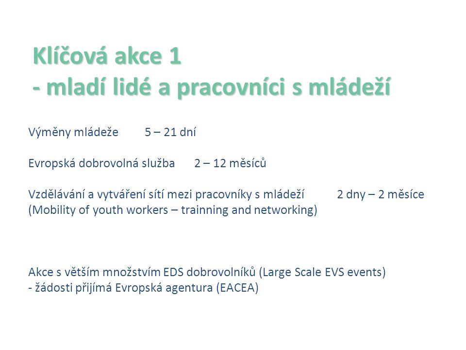 Klíčová akce 1 - mladí lidé a pracovníci s mládeží Výměny mládeže 5 – 21 dní Evropská dobrovolná služba 2 – 12 měsíců Vzdělávání a vytváření sítí mezi pracovníky s mládeží 2 dny – 2 měsíce (Mobility of youth workers – trainning and networking) Akce s větším množstvím EDS dobrovolníků (Large Scale EVS events) - žádosti přijímá Evropská agentura (EACEA)