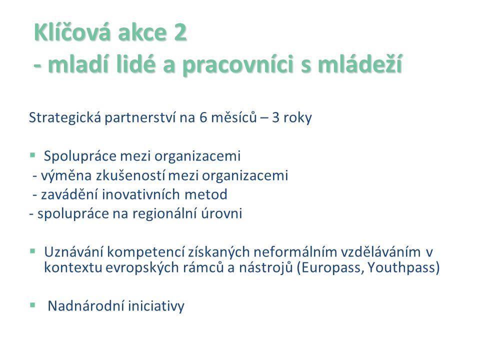 Klíčová akce 2 - mladí lidé a pracovníci s mládeží Strategická partnerství na 6 měsíců – 3 roky  Spolupráce mezi organizacemi - výměna zkušeností mezi organizacemi - zavádění inovativních metod - spolupráce na regionální úrovni  Uznávání kompetencí získaných neformálním vzděláváním v kontextu evropských rámců a nástrojů (Europass, Youthpass)  Nadnárodní iniciativy