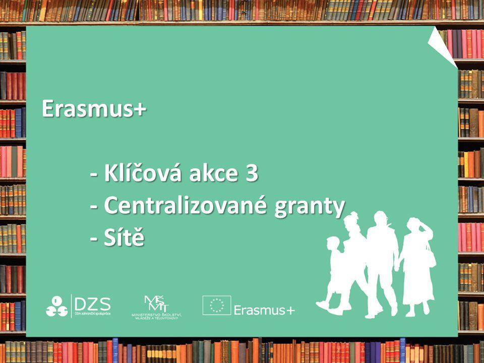 Erasmus+ - Klíčová akce 3 - Centralizované granty - Sítě