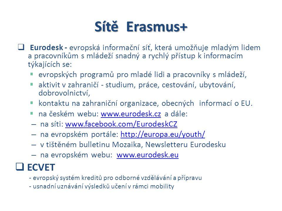 Sítě Erasmus+  Eurodesk - evropská informační síť, která umožňuje mladým lidem a pracovníkům s mládeží snadný a rychlý přístup k informacím týkajících se:  evropských programů pro mladé lidi a pracovníky s mládeží,  aktivit v zahraničí - studium, práce, cestování, ubytování, dobrovolnictví,  kontaktu na zahraniční organizace, obecných informací o EU.