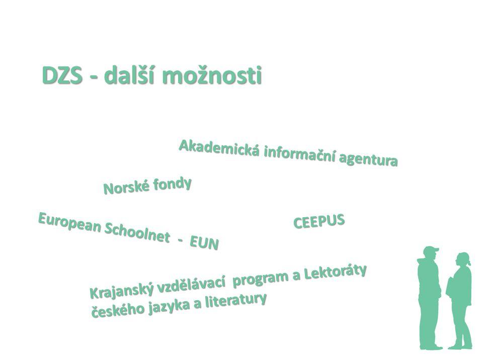 European Schoolnet - EUN CEEPUS Akademická informační agentura DZS - další možnosti Krajanský vzdělávací program a Lektoráty českého jazyka a literatury Norské fondy