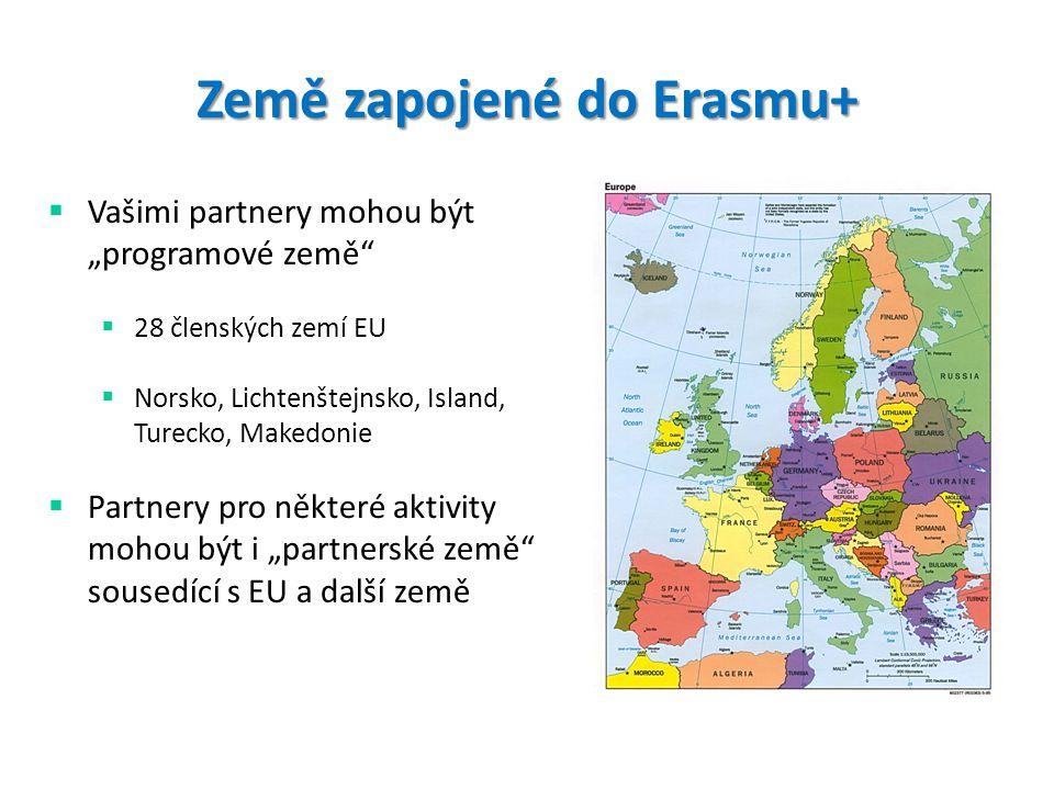 """Země zapojené do Erasmu+  Vašimi partnery mohou být """"programové země  28 členských zemí EU  Norsko, Lichtenštejnsko, Island, Turecko, Makedonie  Partnery pro některé aktivity mohou být i """"partnerské země sousedící s EU a další země"""