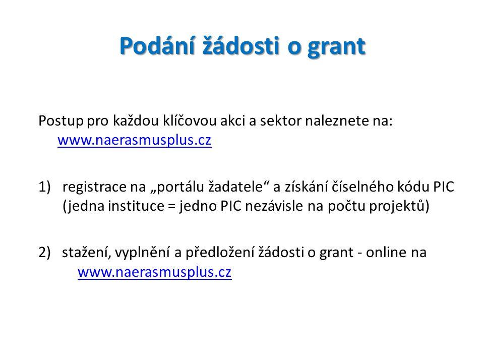 """Podání žádosti o grant Postup pro každou klíčovou akci a sektor naleznete na: www.naerasmusplus.cz www.naerasmusplus.cz 1)registrace na """"portálu žadat"""
