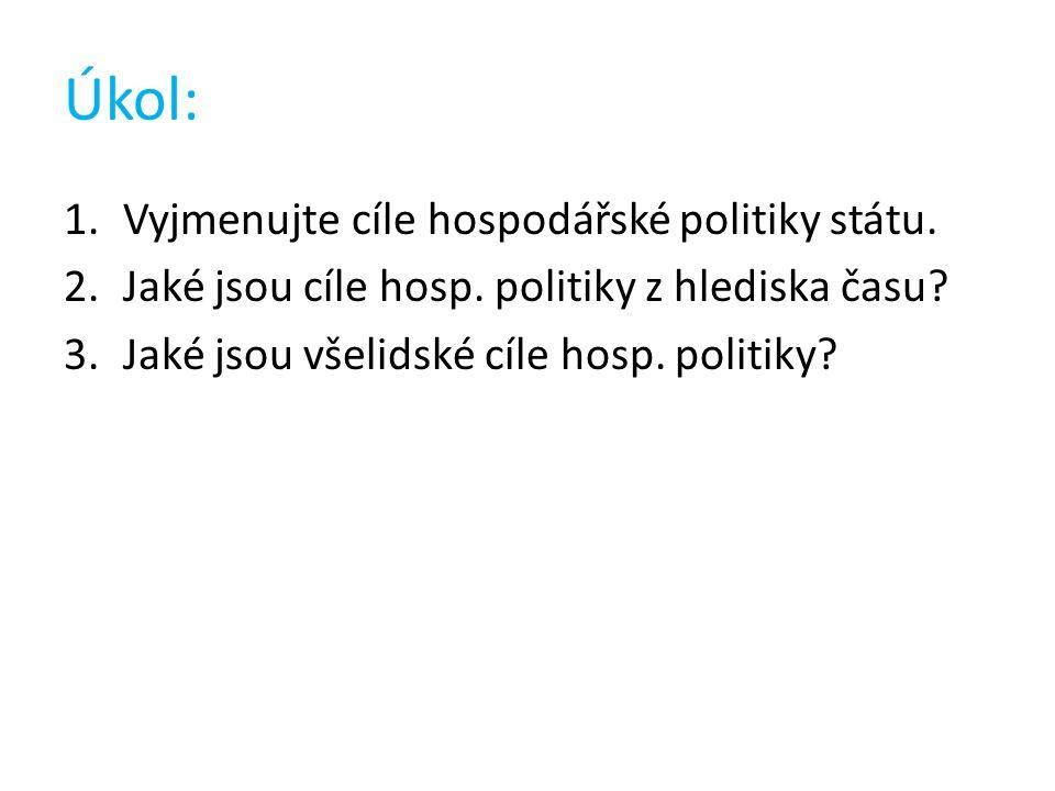 Úkol: 1.Vyjmenujte cíle hospodářské politiky státu.