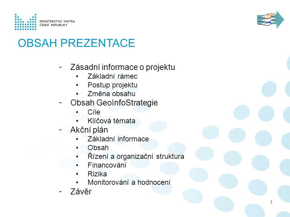 OBSAH PREZENTACE - Zásadní informace o projektu Základní rámec Postup projektu Změna obsahu - Obsah GeoInfoStrategie Cíle Klíčová témata - Akční plán Základní informace Obsah Řízení a organizační struktura Financování Rizika Monitorování a hodnocení - Závěr 3