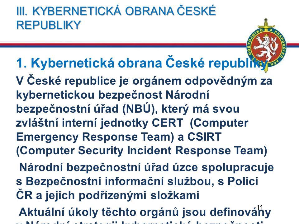 III. KYBERNETICKÁ OBRANA ČESKÉ REPUBLIKY 1. Kybernetická obrana České republiky V České republice je orgánem odpovědným za kybernetickou bezpečnost Ná