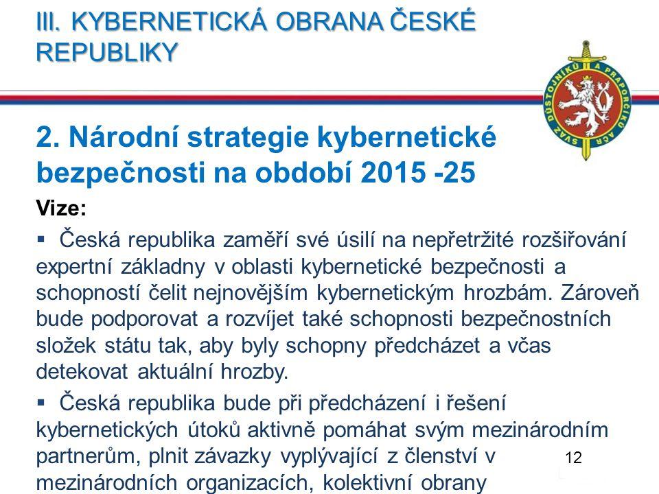 III. KYBERNETICKÁ OBRANA ČESKÉ REPUBLIKY 2. Národní strategie kybernetické bezpečnosti na období 2015 -25 Vize:  Česká republika zaměří své úsilí na