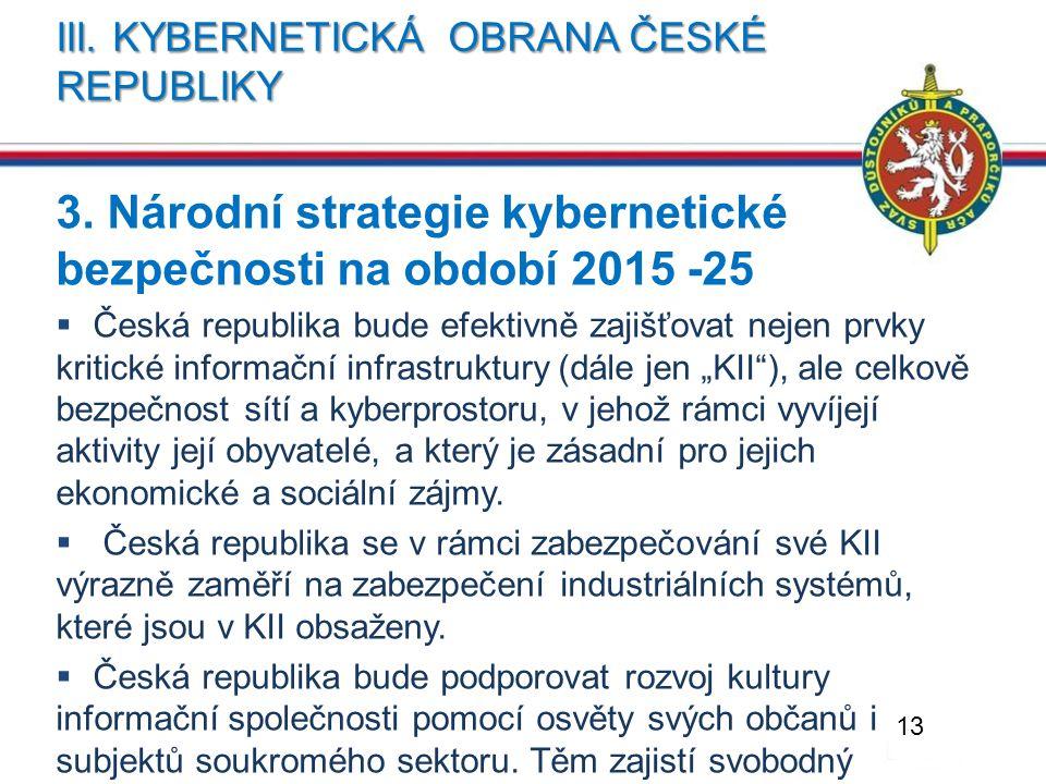 III. KYBERNETICKÁ OBRANA ČESKÉ REPUBLIKY 3. Národní strategie kybernetické bezpečnosti na období 2015 -25  Česká republika bude efektivně zajišťovat