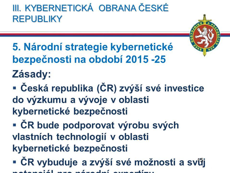 III. KYBERNETICKÁ OBRANA ČESKÉ REPUBLIKY 5. Národní strategie kybernetické bezpečnosti na období 2015 -25 Zásady:  Česká republika (ČR) zvýší své inv