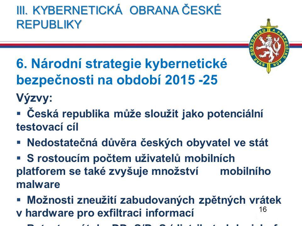 III. KYBERNETICKÁ OBRANA ČESKÉ REPUBLIKY 6. Národní strategie kybernetické bezpečnosti na období 2015 -25 Výzvy:  Česká republika může sloužit jako p