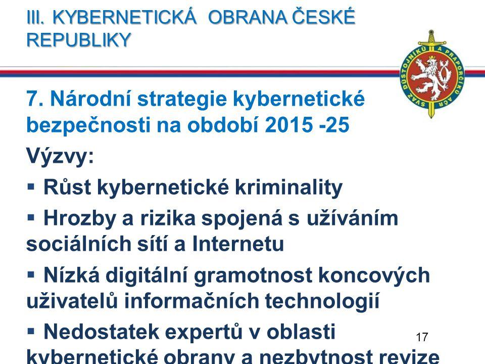 III. KYBERNETICKÁ OBRANA ČESKÉ REPUBLIKY 7. Národní strategie kybernetické bezpečnosti na období 2015 -25 Výzvy:  Růst kybernetické kriminality  Hro
