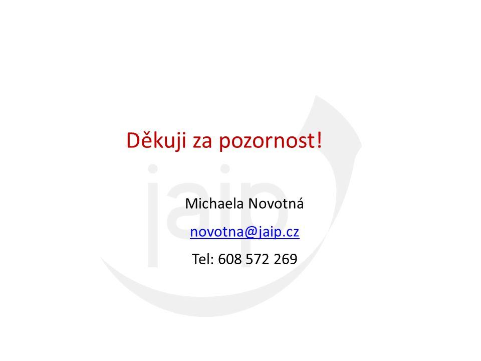 Děkuji za pozornost! Michaela Novotná novotna@jaip.cz Tel: 608 572 269
