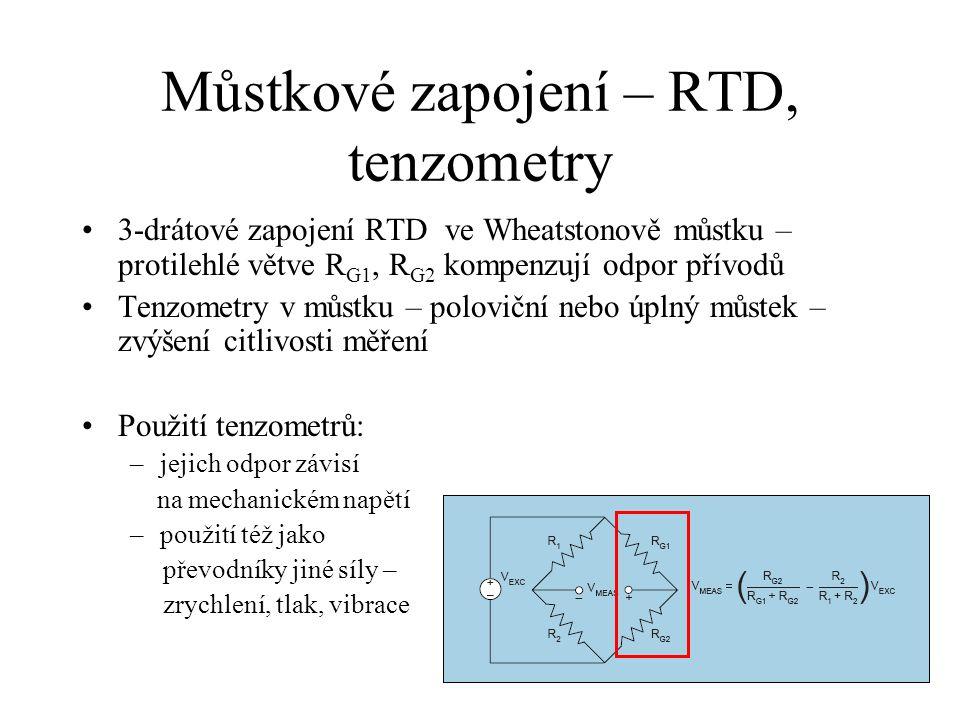 Příklad – čidlo se zpětnou vazbou Drátkový termoanemometr: –zpětná vazba udržuje můstek vyvážený -> stabilizace odporu (teploty) sondy (výstupní napětí) 2 ~ teplo ztrácené na sondě ~ rychlost proudění